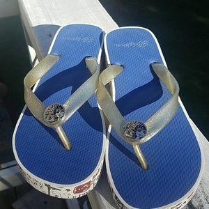 Brighton- Platform wedge flip flops- Size 8